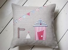 Show details for Linen Applique Beach Hut and Bunting Cushion