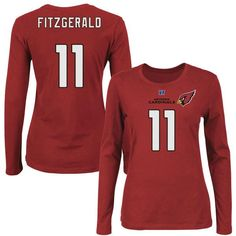 Larry Fitzgerald Arizona Cardinals Majestic Women's Fair Catch Long Sleeve Name & Number T-Shirt - Cardinal - $34.99