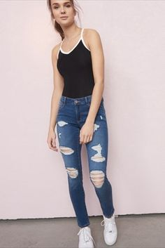 Georgia blue premium high waist jegging threads in High Fashion Trends, Teen Fashion, Fashion Outfits, Ripped Jeans Outfit, White Ripped Jeans, Jean Outfits, Casual Outfits, Cute Outfits, Outfits For Teens