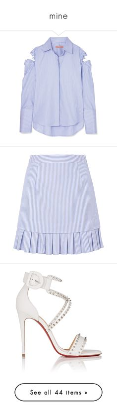 """mine"" by marcellesa ❤ liked on Polyvore featuring tops, light blue, shirt top, stripe cotton shirt, striped top, stripe top, striped shirt, skirts, mini skirts and pleated mini skirt"