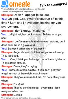 Of course, Cas would just teleport back, confused and unamused, but i love the idea that 2 strangers could craft a conversion out of the blue like that...