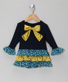 Take a look at this Navy Floral Drop-Waist Dress - Toddler & Girls by Mulberribush on #zulily today!