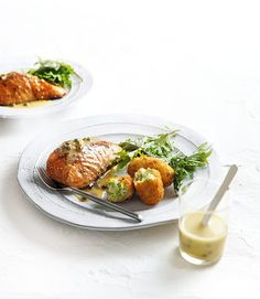 Broccoli Croquettes With Salmon & Lemon & Caper Dressing | MiNDFOOD