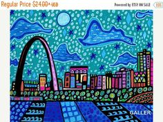 50% Off- St. Louis Missouri Cityscape Art Art Print Poster by Heather Galler Painting City Gateway Arch (HG847)