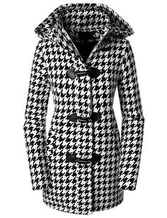 $25.99 - $48.99 Doublju Womens Hooded Houndstooth Leather Trim Zip-up Toggle Coat Black Large