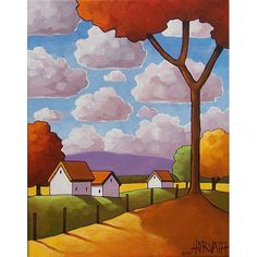 PAINTING ORIGINAL Acrylic on Canvas Folk Art Countryside Red Tree Modern Abstract Cottage Landscape Ready to Hang Fine Artwork Horvath 11x14
