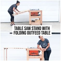 The perfect DIY table saw stand for small workshops - with a folding outfeed table. Get the plans and detailed video tutorial to build this simple table saw stand. #woodworking #woodworkingplans Table Saw Stand, Diy Table Saw, Beginner Woodworking Projects, Diy Woodworking, Diy Wood Projects, Easy Diy, How To Plan, Woodworking, Bricolage Facile