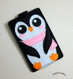 "iPhone Case - Cell Phone Case - iPhone 4 Case - iPod Case - iPod Touch Case - Handmade iPhone Felt Case - "" Kawaii Penguin "" Design. $19.00, via Etsy."