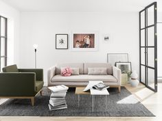 Day sofa and easy chair by Design House Stockholm Sofa Design, Pillow Design, Design Art, Interior Wood Stain Colors, Design House Stockholm, Interior Design Colleges, Minimal Living, Interior Rugs, Interior Doors