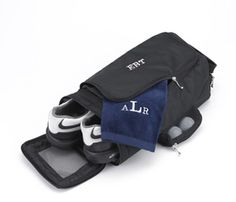 Personalized Golf Shoe Bag - Looking for a sensible way to carry your golf, workout, or bowling shoes? Store them in our attractive personalized shoe bag, ideal for the sports-minded individual or the avid traveler. This little bag features an end zipper for easy access and two pockets for storing essential accessories. A convenient handle makes carrying easy and ventilation keeps this personalized shoe bag fresh as a daisy! http://www.favorfavor.com/page/FF/PROD/JDSGC663