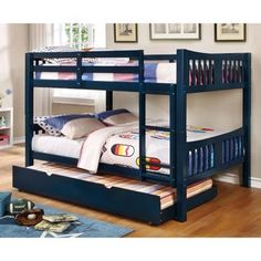 Shop for Furniture of America Dai Contemporary Full over Full Bunk Bed. Get free delivery On EVERYTHING* Overstock - Your Online Furniture Outlet Store! Get in rewards with Club O! Full Size Bunk Beds, Safe Bunk Beds, Bunk Bed With Trundle, Bunk Beds With Stairs, Twin Bunk Beds, Kids Bunk Beds, Queen Size Bunk Beds, Blue Bedding, Bedding Sets