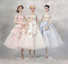 "Cherry Blossom dress for fashion royalty , poppy parker, Barbie silkstone , Fashion Dolls 12 "" Barbie Gowns, Barbie Dress, Barbie Clothes, Fashion Now, Party Fashion, Fashion Royalty Dolls, Fashion Dolls, Cherry Blossom Dress, Barbie Wedding"