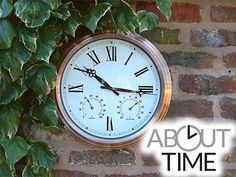 copper garden clock with thermometer 37cm 146