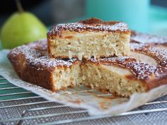Pear, Yoghurt and Vanilla Slice Cake - Cooking for Busy Mums Pear Recipes, Almond Recipes, Fruit Recipes, Sweet Recipes, Baking Recipes, Cake Recipes, Snack Recipes, Recipies, Snacks