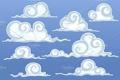 Beautiful Cartoon Clouds by yuanden graphics on @creativemarket