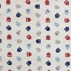 Little Owls decor Cream Cotton PRINT Owls Fabric Pure Cotton heavy Upholstery curtains, cushions, Blinds, Duvet Fabric supplies - Per Metre