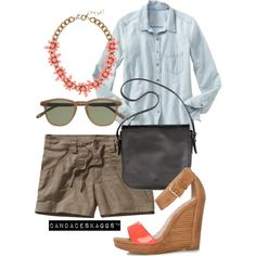 Untitled #928 | casual summer outfit, shorts and button up with wedges