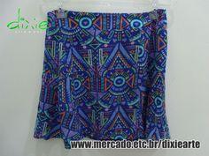 Saia Estampa Étnica  www.elo7.com.br/dixiearte
