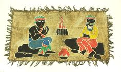 Vintage Ethnic Tribal African Painting Men Smoking by the Fire Maybe Kenya