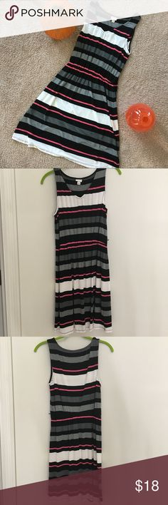 NWOT Merona Black and Pink Striped Dress Removed tags, washed, never worn! It is missing black string for the waist, if I find it somewhere I will update this listing or put it in with the shipment because I know it's somewhere. Size small, runs a bit large in my opinion so could fit a medium too. It's very cute and flattering! Merona Dresses Midi
