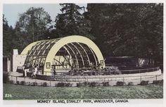 : Monkey Island, Stanley Park Zoo, c.1952 | Stanley Park Vancouver, Vancouver Bc Canada, Vancouver Island, Monkey Island, Fraser Valley, Local History, Historical Photos, British Columbia, West Coast