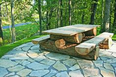 Rustic locust picnic table. Custom made to your specifications. This log picnic table is made from durable locust logs.  Handmade by Appalachian Designs in North Carolina.