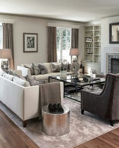 Off white sofas with dark grey chairs Beautiful Living Rooms, Cozy Living Rooms, Living Room Grey, Living Room Modern, Living Room Interior, Home Living Room, Living Room Furniture, Living Room Designs, Living Room Decor