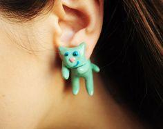 $25.00 Mint cat earrings ear studs fake gauges  mint earrings by Rozibuz