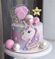 ایده های ناب برای جشن شما - торты на д.р - first birthday cake-Erster Geburtstagskuchen Diy Unicorn Cake, Unicorn Cake Pops, Unicorn Cake Design, Unicorn Themed Birthday Party, Birthday Cake Girls, Birthday Kids, Birthday Cakes, Snowflake Wedding Cake, Diy Cake