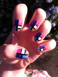 Spring Colour Block Bright Nails