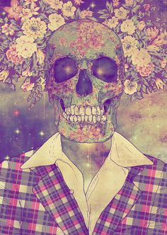 #skull #flowers #head #death #pretty