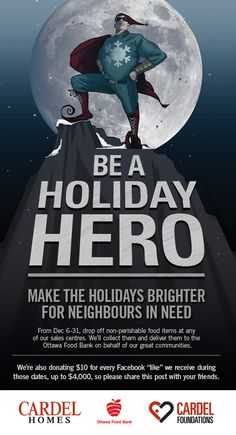Like us on Facebook and we'll donate 10$ to the Ottawa Food Bank! https://www.facebook.com/#!/cardelottawa #charity #Christmas #hero