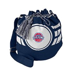 NBA Detroit Pistons Womens NBA Ripple Drawstring Bucket Bag Navy 12 in Height x 14 Wide x 85 Deep >>> To view further for this item, visit the image link.