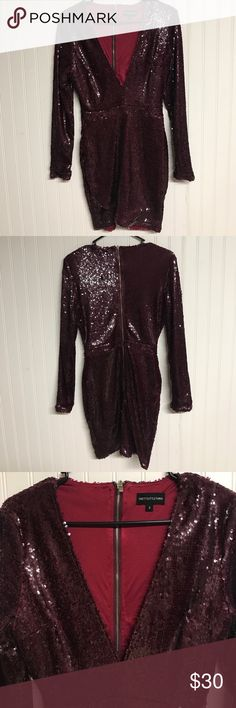 Burgundy sequin dress This sequin dress will make sure all eyes are on you. The sizing is a UK size 8 so please keep that in mind. pretty little thing Dresses Mini