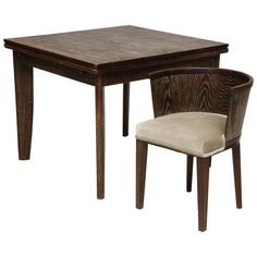 Majorelle Cerused Deco Oak Game Dining Table Mid-Century France, 1930s-1940s | From a unique collection of antique and modern dining room tables at https://www.1stdibs.com/furniture/tables/dining-room-tables/