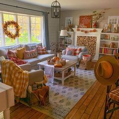 Cozy fall and Halloween decor in a family room with stone fireplace and farmhouse style kitchen. Fall Living Room, Living Room Decor, Halloween Living Room, Cozy Living, Living Rooms, Fall Home Decor, Autumn Home, Farmhouse Style Kitchen, Farmhouse Decor
