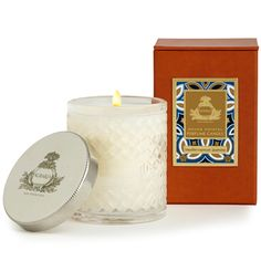 Mediterranean Jasmine Woven Crystal Agraria Candle | Agraria's Perfume Candles are presented in a decorative crystal glass that is a modern interpretation of the woven palm leaf cases that were an Agraria trademark in the 1980s. The intricate glass pattern accentuates the movement of the flame to create a luminous and mesmerizing glow. Featuring hand-twisted lead-free wicks, each hand-poured candle is clean-burning and beautifully fragrant.