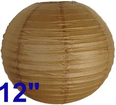 """12"""" Brown Chinese Japanese Paper Lantern  Diameter: 12""""  Expanding with a metal frame  Bulb and power cord are not included"""