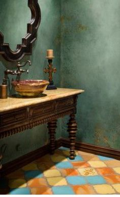 Teal Turquoise And Orange Combine Beautifully For Tuscan Decorating Colors We Are Currently Choosing Furniture Wall Decor And Decorating Accessories For A Parade Of Homes Project Teal Turquo. Design Exterior, Interior Design, Style Toscan, Rustic Italian Decor, Tadelakt, Tuscan House, Mediterranean Home Decor, Faux Painting, Crackle Painting