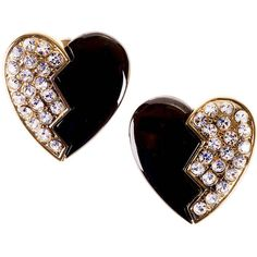 Preowned 'tres Chic' Heart Shaped Earrings By Yves Saint Laurent ($361) ❤ liked on Polyvore featuring jewelry, earrings, accessories, multiple, heart earrings, yves saint laurent, heart shaped earrings, pre owned jewelry and heart jewellery