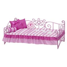Our Generation Scrollwork Bed i like this set alot you can fit ag dolls or og dolls on it and it is way cheaper than ag Og Dolls, Girl Dolls, American Girl Beds, 10 Year Old Gifts, Our Generation Dolls, Crafts With Pictures, Doll Beds, Dream Doll, Diy Doll