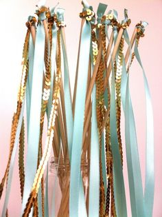 Gold Sequin and Satin Ribbon Streamer Send Off Wedding Wands