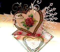 Carte chevalet coeur d' après tuto mag. cartes créatives 3D