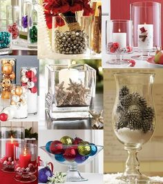 Christmas vase fillers. Great Centerpieces