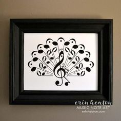 Peacock Music Note Art Print - Available in 5x7, 8x10, and 11x14 inches