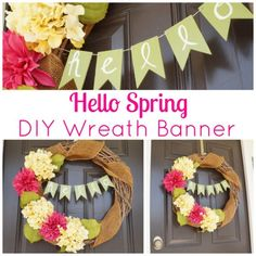 Hello Spring DIY Banner by Two Purple Couches