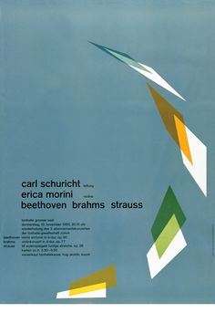 Poster by the swiss graphic designer Josef Muller Brockmann. Graphic Design Posters, Graphic Design Typography, Graphic Design Inspiration, Poster Designs, Cristiana Couceiro, Layout Design, Print Design, Word Design, International Typographic Style