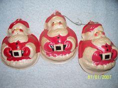 Lot 3 Vintage Plastic Blow Mold Christmas Santa Face Ornaments Plaques 4 inches