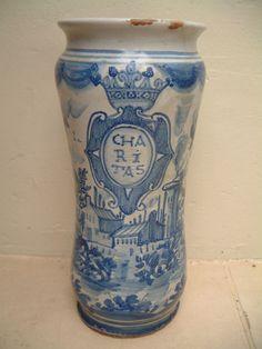 RARE DATED ALBARELLO DRUG JAR CASTELLI MAIOLICA 1734 | eBay