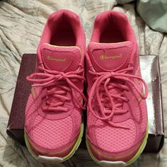 Pink and lime green champion sneaker Pink and lime green champion sneaker.  Slightly worn at gym. Champion Shoes
